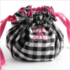 personalized silk gingham jewelry pouch