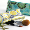 personalized laminated print cosmetic brush bag