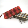 personalized plaid silk brush case